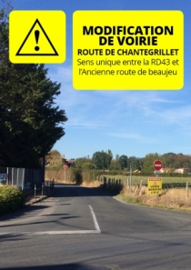 Route de chantegrillet : modification de voirie