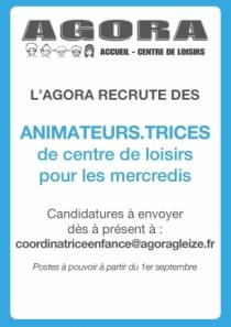 l'Agora recrute des animateurs
